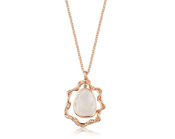 Silver Rose Gold Rainbow Moonstone Pendant GypsyCollection