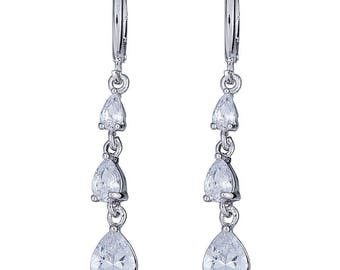 Rhodium Silver Plated Hanging Earring With 3-Small to Large Teardrops Design