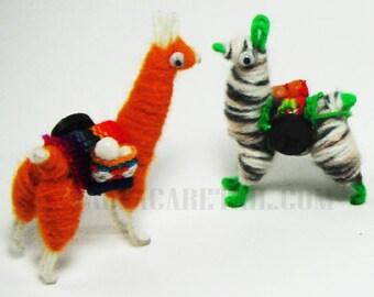 Llama Alpaca Fridge Magnet Andean Collectible Handcrafted Miniature Figurine with Peruvian Fabric & grains