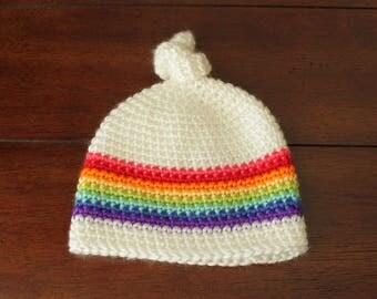 Top Knot Beanie - Rainbow