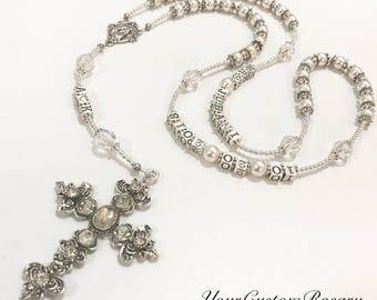 Swarovski White Pearl & Clear Crystal Bridal Rosary | Wedding | Bride to Be | Bridal Shower | Catholic Gift | Handmade