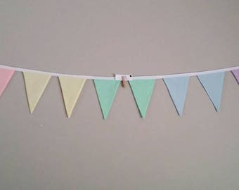 Fabric bunting flags pastel rainbow