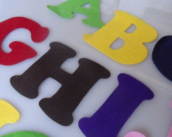 FELT ALPHABET LETTERS A to Z - Multi-colour Pack - 7.5cm Large - For kids' crafting, classrooms, parties and more!