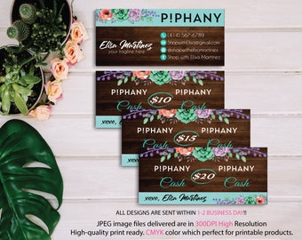 Piphany Cash Card, Piphany Money Cash, Custom Piphany Cash Discount, Piphany markting, Wooden Background, Printable Card - Digital file PP06