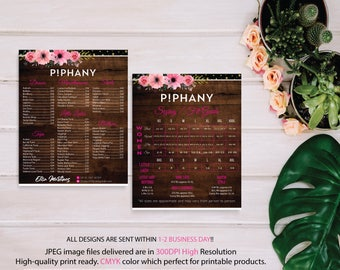 BOTH CARDS, Piphany Sizing Chart, Piphany Price List Poster, PERSONALIZED Piphany Marketing Cards, Printable Card, Digital file TP05