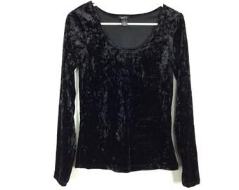 Black long sleeve velvet top size M