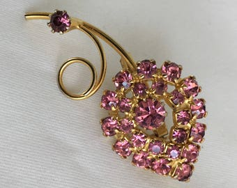 Pink Rhinestone Gold Tone Flower Vintage Brooch Pin