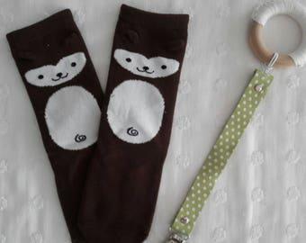 Baby monkey knee high socks 0-2 yr