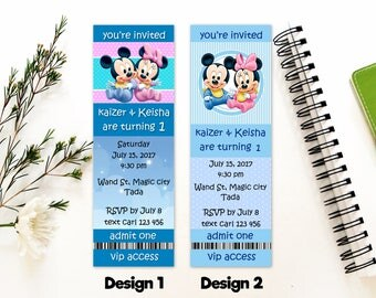 Personalized Baby Mickey Mouse Baby Minnie Mouse First Birthday Party Birthday Invitation Invite Baby Blue Printable DIY - Digital File