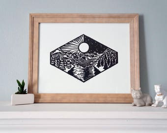 Day/Night - Mountain Landscape Split Scene in the Day and Night Time! Woodblock Print by DinoCat Studio