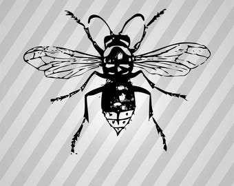 Bee Hornet Silhouette - Svg Dxf Eps Silhouette Rld RDWorks Pdf Png AI Files Digital Cut Vector File Svg File Cricut Laser Cut