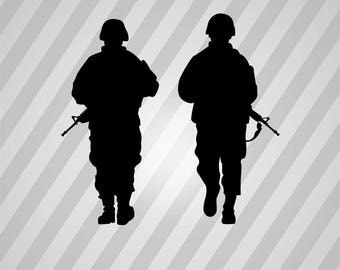 army soldiers Silhouette - Svg Dxf Eps Silhouette Rld RDWorks Pdf Png AI Files Digital Cut Vector File Svg File Cricut Laser Cut