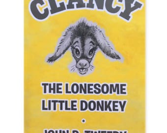 """Clancy, the Lonesome Little Donkey 3""""x5"""" refrigerator magnet"""