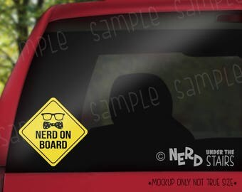 Nerd on Board Decal, Funny Baby on Board Vinyl, Nerd Baby, Funny Decal, Nerdy Decal Gift, Geeky Gift, Funny Baby Gift, UV Resistant Vinyl