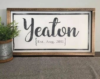 Family Name Sign / Established Sign / Wedding Gift Sign / Personalized Family Sign / Last Name Sign / Family Established Sign