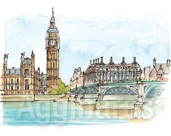 London UK / art print from an original watercolor painting