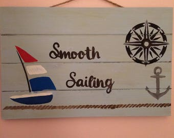 Sailing Wood Hanging Sign