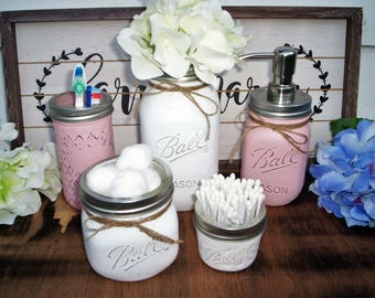 mason jars,mason jar decor, mason jar centerpiece, mason jar bathroom set, pink and white,mason jar soap dispenser,rustic wedding, silver