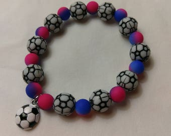 Soccer Stretch Bracelet with Soccer Ball Charm