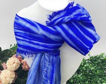 Cobalt Blue Silk Scarf, Infinity Scarf, Womens Scarf, Fall Scarf, Summer Scarf, Lightweight Scarf, Upcycled Scarf, Eco Fashion scarf [VS12]