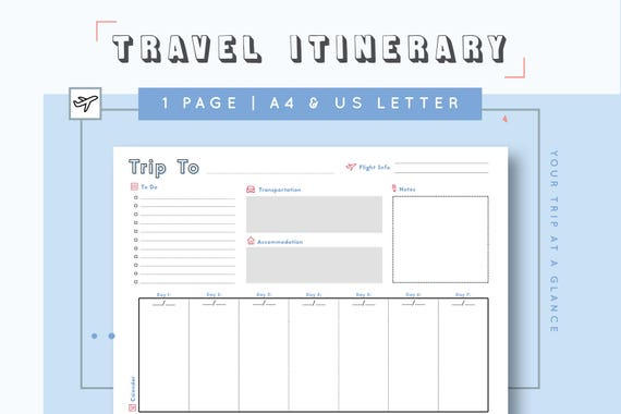 vacation travel itinerary template