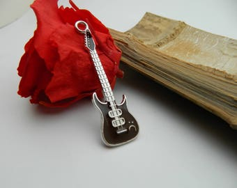 1 pendant 62 chocolate enamel guitar charm * 18.5 mm