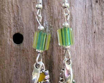 Yellow and green glass bead earrings