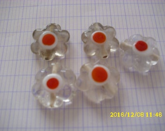 set of 5 beads glass transparent 19X7mm flower (1.5 mm hole)