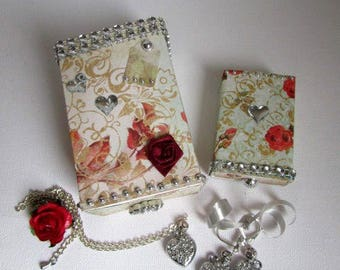 Valentine's day! shabby with hearts necklace jewelry gift boxes