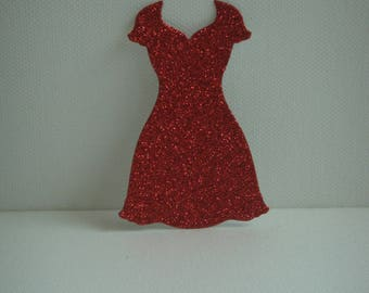 """Cut out dress """"V"""" in red glitter for scrapbooking and card"""