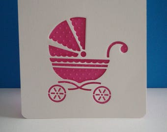 Cut vertical opening card pram pink embossed with little dots
