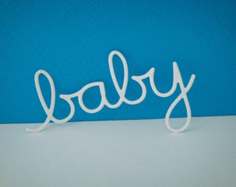 "Cut out ""baby"" paper white design for scrapbooking and card"