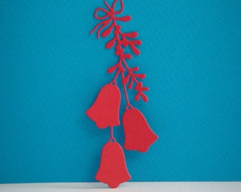 Cut 3 Red bells with leaves attached with a bow