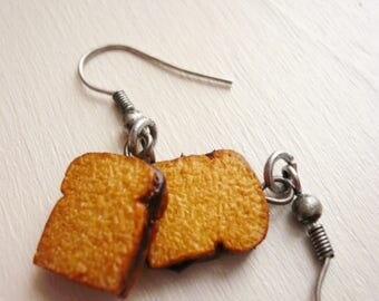 Earrings bread chocolate hazelnut