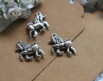 5 silver metal Unicorn charms