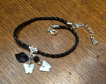 Black leather and Pearl Butterfly link bracelet