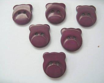LOT 6 buttons: 16mm Garnet bear head