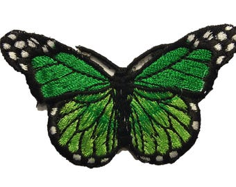 FABRIC FUSIBLE APPLIQUE: 75 * 40mm Green Butterfly