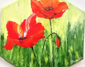"""Small hexagonal """"poppies"""" palette knife oil painting"""