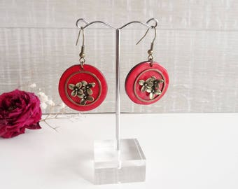 Red earrings enameled bright effect