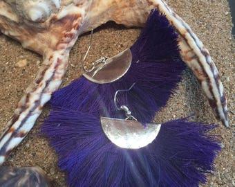 """Earrings """"copa cabana"""" Purple fan"""
