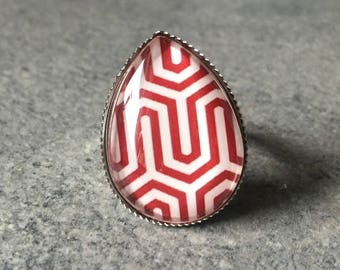 Red geometric silver ring