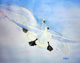 watercolor of two geese in flight