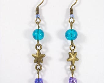 Bronze earrings for blue cracked glass beads, Star connector