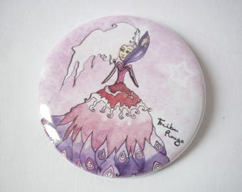 Miss feather and white illustrated round Pocket mirror
