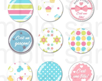 24 Images BABY digital round for cabochon 25mm