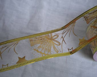 Ribbon organza Golden edges arms 38mm wide