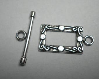 Silver plated Toggle clasp antique 23 x 12 mm