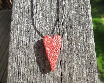 Metallic copper heart necklace