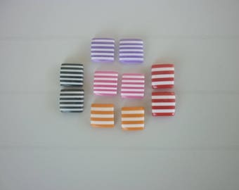 10 square cabochons striped colors in resin with stick 10mm